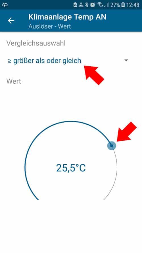 Homematic IP - Automatisierung - Temperatur und Dauer hinterlegen