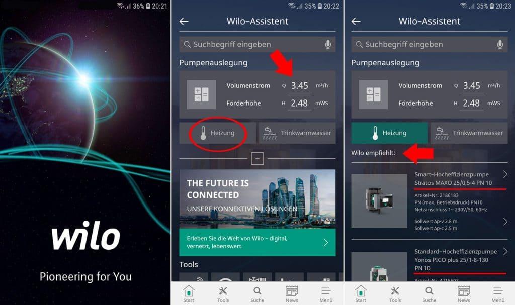 Pumpenauslegung mit der Wilo Assistent App
