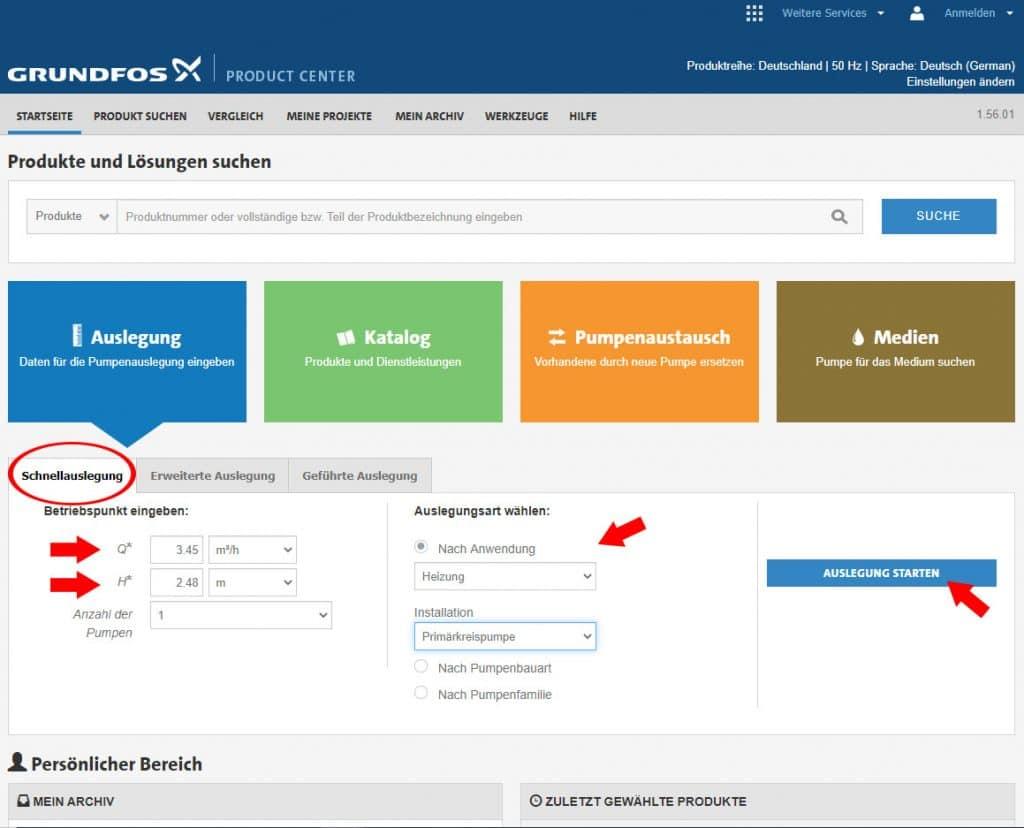 Auslegung einer Grundfos Pumpe (bearbeiteter Screenshot der Webseite)