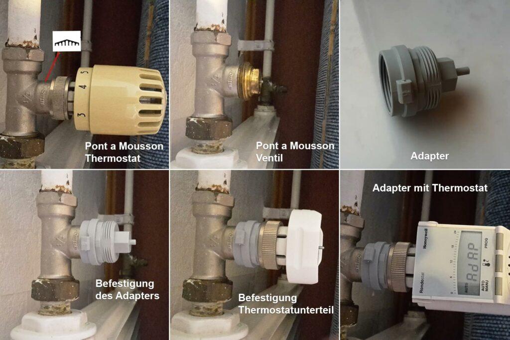 Thermostat tauschen: Pont a Mousson Heizkörperventil mit Adapter und neuem Thermostat, Quelle aus Kommentaren (Holger Schilling)