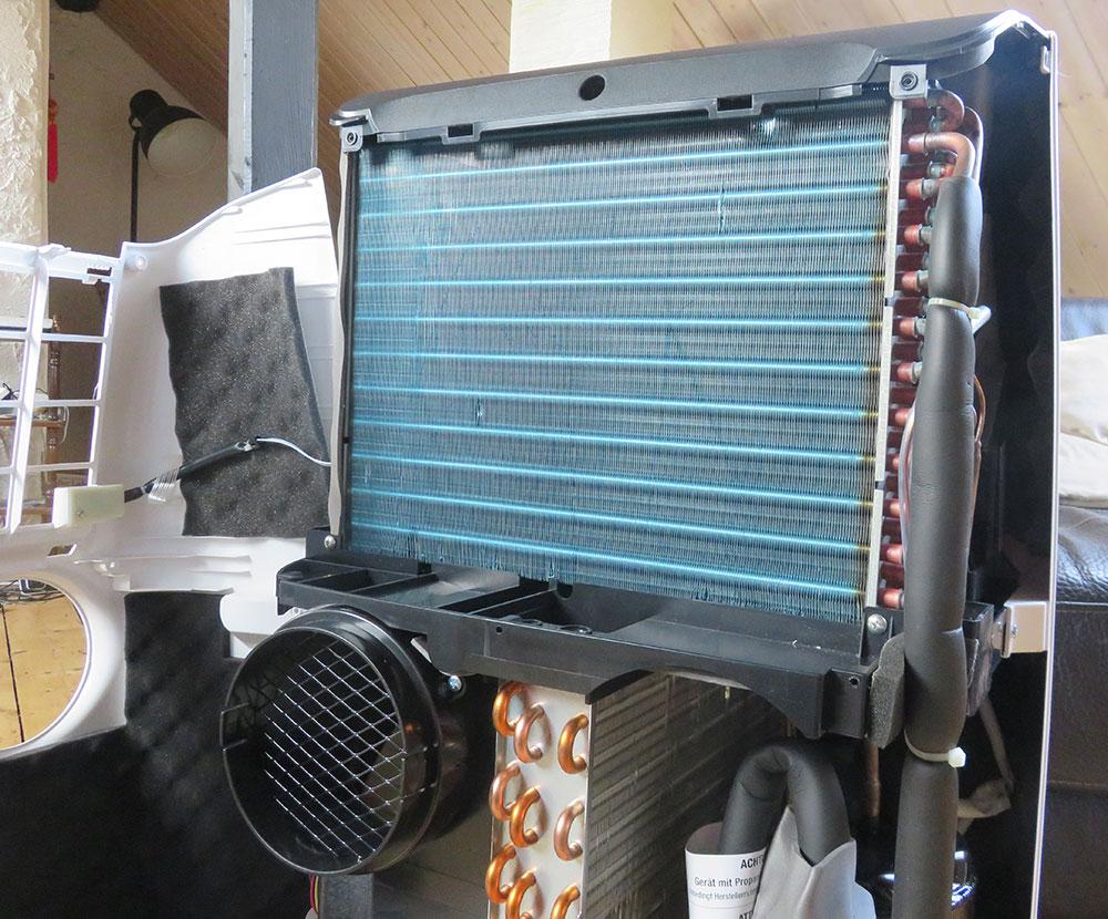 Mobile Klimaanlage Innenansicht: Verdampfer De'Longhi Pinguino PAC EX100 Silent