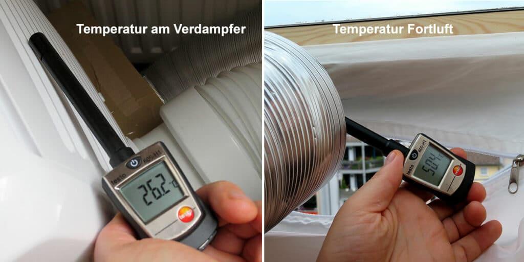 Temperaturmessung am Verdampfer und Fortluftrohr