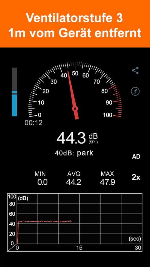Schalldruckmessung wibio Luftreiniger -Ventilator-Stufe 3 - 1m vom Gerät entfernt