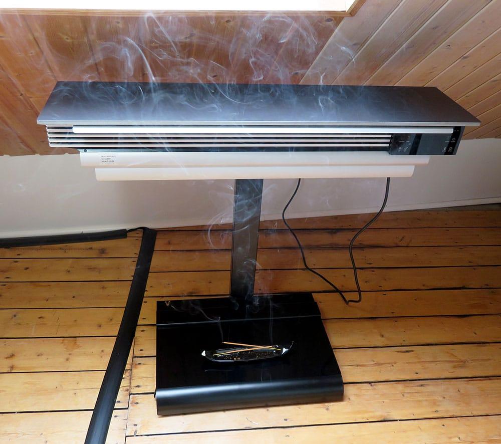 Testumgebung wiBio Luftreiniger mit 2 Räucherstäbchen