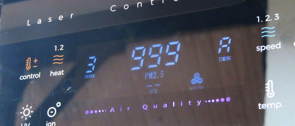 Testumgebung wiBio Luftreiniger - der wiBio Luftreiniger ermittelt den maximal darstellbaren PM-Wert von 999 µg/m³