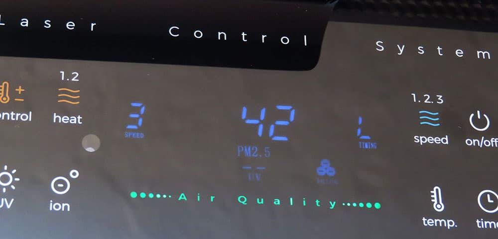 Testumgebung wiBio Luftreiniger - Ergebnis nach 35 Minuten PM-Wert bei 42 µg/m³